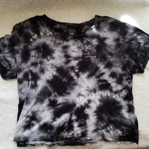 """Black and White Tie-Dye """"Whatever"""" Crop Top"""